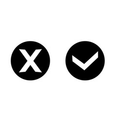 check mark icons set tick and cross sign vector image