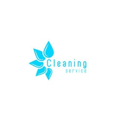 Cleaning service logo blue fresh water drops vector image