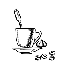 coffee cup with cream and beans vector image