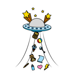 Color ufo talking away baby toys vector
