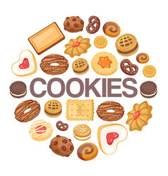 Cookies background different chocolate and vector