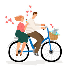 couple in love riding bicycle vector image