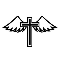 cross with wings icon vector image