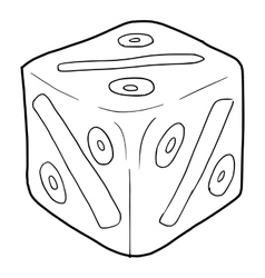 Cube with percent icon outline style vector