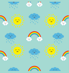 cute cartoon kawaii sun cloud with rain rainbow vector image