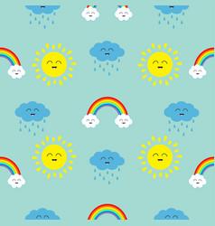 Cute cartoon kawaii sun cloud with rain rainbow vector