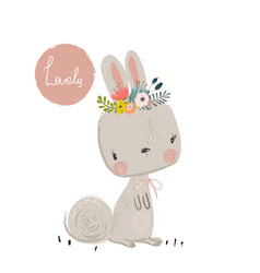 Cute summer hare vector