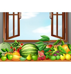 Different types of fruits on the table vector image