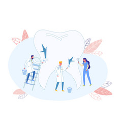 Doctors team corrects tooth imperfections cartoon vector