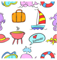 doodle of element summer holiday vector image
