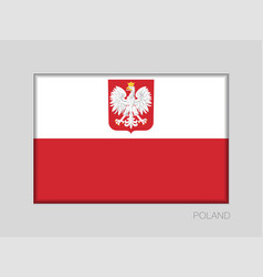 Flag of poland with eagle national ensign aspect vector