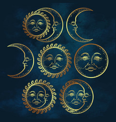 Flash tattoo design hand drawn gold sun and moon vector
