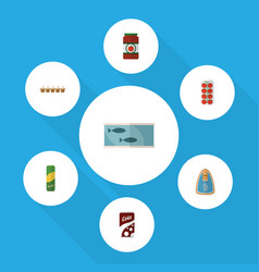 flat icon eating set of canned chicken ketchup vector image