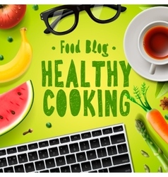 Food blog healthy cooking recipes vector