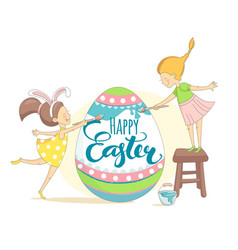 funny happy easter greeting card with girls vector image
