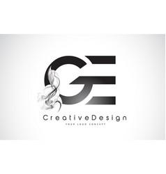 Ge letter logo design with black smoke vector