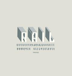 geometric sans serif bulk font in cyber style vector image