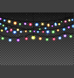 Glowing garland set on transparent background vector