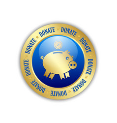 golden donate piggy bank icon with coin isolated vector image