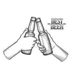 graphic hands with beer bottles vector image