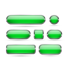 green glass buttons with chrome frame 3d icons vector image