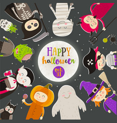 Halloween cartoon characters against a starry sky vector