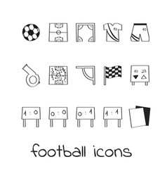 Hand draw icons football collection of linear vector