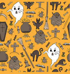 hand-drawn halloween colorful seamless pattern vector image