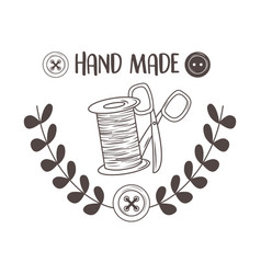 hand made sewing with thread tubino and scissors vector image