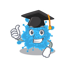 Happy andecovirus in graduation hat for ceremony vector