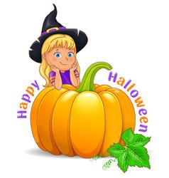 happy halloween funny girl in black hat vector image
