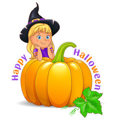 happy halloween funny girl in black hat with vector image