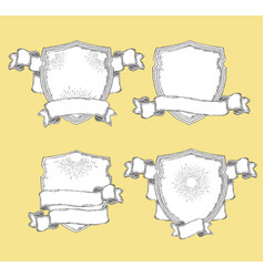 heraldic shield with various decorative ribbons vector image