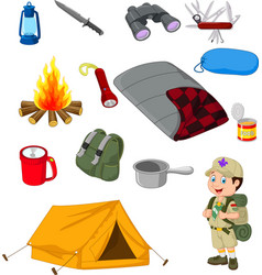 Hiking camping equipment base camp gear and outdoo vector