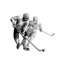 hockey player hand drawn sketch winter sport vector image
