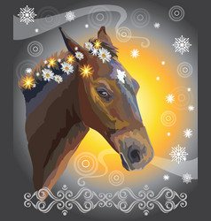 horse portrait with flowers 39 vector image