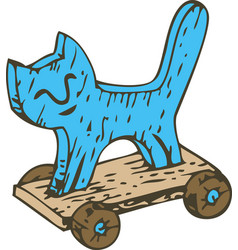 Kids toy wooden cat on a board with wheels vector