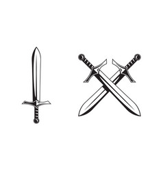 knight swords isolated on white background vector image