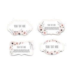 Labels set with flowers frame border with vector