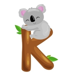 Letter k with koala animal for kids abc education vector
