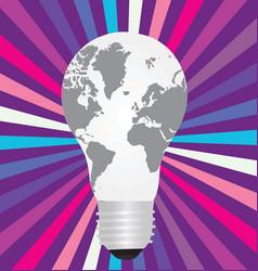 Light bulb with a world map inside vector