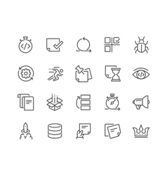Line Agile Development Icons vector image