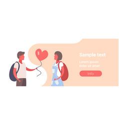 man giving woman pink heart shape air balloon vector image