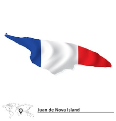 Map of Juan de Nova Island with flag vector