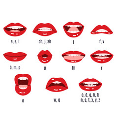 Mouth sound pronunciation lips phonemes animation vector