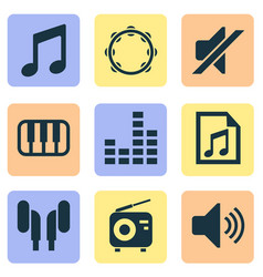 Multimedia icons set with headset playlist note vector