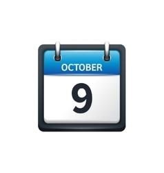 October 9 Calendar icon flat vector
