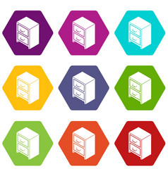 office chest of drawers icons set 9 vector image