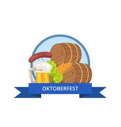 Oktoberfest logo design with wooden casks beer mug vector