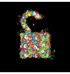 open lock floral style vector image